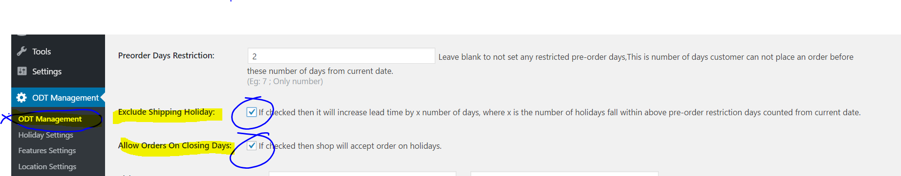 Lead time management for orders posted on store closing days - WooODT Extended