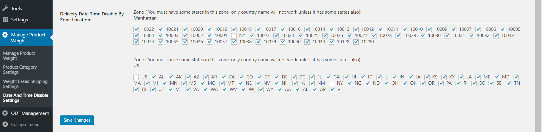 Don't ask for delivery date time in checked the states and zip code areas